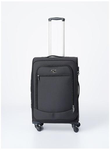 Ox Ox Orta Boy Çekçekli Kumaş Valiz Siyah
